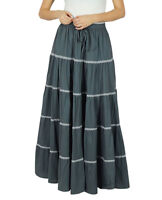 Bimba Frauen langer flaired Baumwollrock grau boho Böden elastische Taillen indi