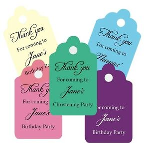 Personalised birthday favour tags, 37mmx 62mm, any colour and wording gift tags