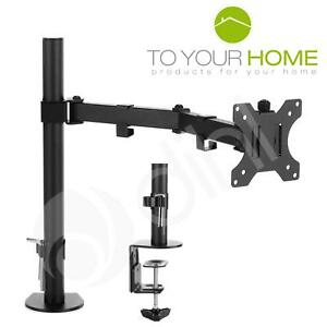 """Single Arm Desk Mount LCD LED Computer Monitor Bracket Stand 13""""-27"""" Screen TV"""