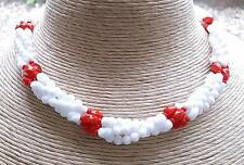 1940's Vintage Chunky White & Red Multi Strand Necklace