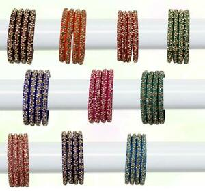 Glass Bangles Set of 4 - Golden Stone Studded Bollywood Traditional
