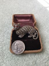 Vintage Large Sterling Silver & Marcasite Cat Kitty Brooch Pin - Heavy 20 Grams