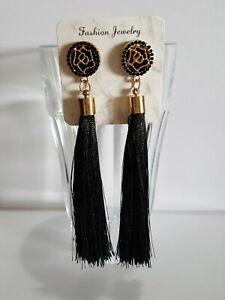 Vintage Boho Long Black Tassel Drop Earrings Cotton Silk Fashion Jewellery