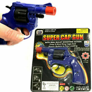 Super Cap Toy Gun Revolver 8 Shot Ring Caps Pistol Handgun Toy Kids FREE DEL UK