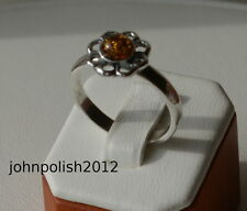 Cute Baltic Amber Flower Ring with Silver 925