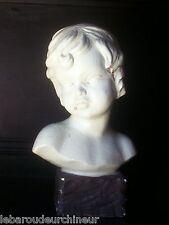 buste tete signé en terre cuite peint