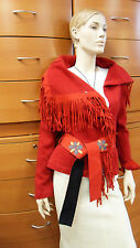 JACKET KNITWEAR RED MADE IN EUROPE VIRGIN WOOL ARTISAN BELTED HOLIDAY GIFT IDEA