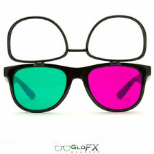 GloFX 3Diffraction Glasses Black Frame Magenta & Emerald Lenses 3D Fireworks