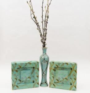 turquoise teal art Flower VASE w/ matching metal art panels matching color