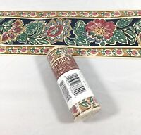 Waverly Wallpaper Border Blue Beige Green Flower Floral Scroll Gold 5""