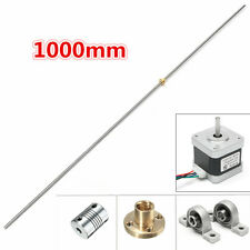 T8 1000mm Stainless Steel Lead Screw Coupling Shaft + Brass Nut + Motor Kit USA