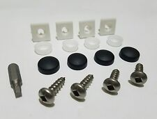 SQUARE BLACK ANTI THEFT LICENSE PLATE SECURITY SCREWS STAINLESS MOUNTS INSERTS