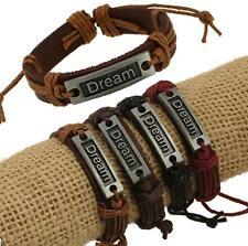 Wholesale 12pcs Handmade Leather Alloy Blackground DREAM Accessories Bracelets