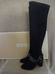 MICHAEL KORS Brody Over The Knee Black Stretch Suede Boots Shoes US 9 EUR 40 NWB