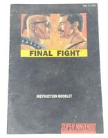 Final Fight Manual Super Nintendo SNES Original Instruction Booklet MANUAL ONLY