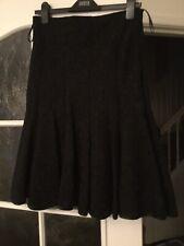 Per Una Size 10 Black Lined Godet Skirt