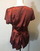 Express Red Silk Blouse - Large