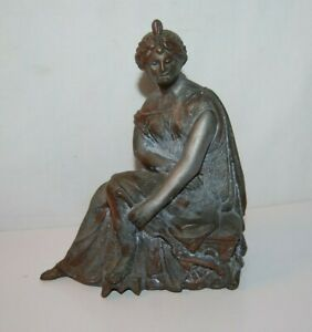 Antique Spelter Victorian Lady Statue