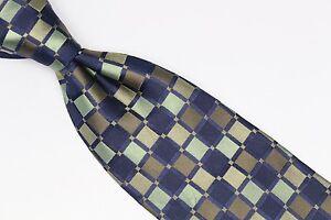 Joseph Abboud Silk Neck Tie Blue Green Brown Beige Tile Check Random Mosaic Used
