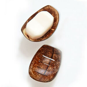 Eco friendly Handmade Wooden Coconut Shell Soap Dish holder for Bathroom