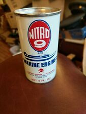 RARE vintage NITRO 9 MARINE OUTBOARD ENGINE CLEANER metal can with boat full
