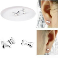 Silver Plated Lovely Woman Dog & Bone Ear Stud Asymmetric Earrings Party Jewelry