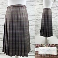 COTSWOLD Pure 100% Wool Brown Pleated Midi Skirt UK 14 Made in UK
