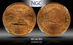1973-Mo MEXICO 20 CENTAVOS NGC MS 66 RD HIGH GRADE!