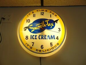 """Rare Vintage Smooth-Tex Ice Cream 17"""" Dualite Dome Electric Lighted Clock"""