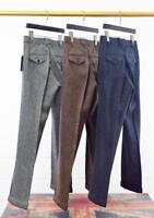 Mens Herringbone Woolen Blend Trouser England Manual Loose Tweed Straight Pants