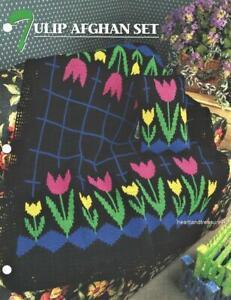 Tulip Afghan Set   Pillow ~ Afghan  Annie's Attic Crochet Afghan Pattern Leaflet