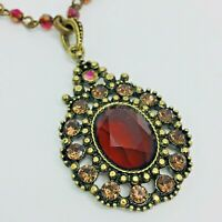 "Vintage Victorian Necklace Glass Faceted Antique Gold Tone Rhinestone AB 17"" SAQ"