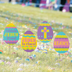 Religious Easter Egg Hunt Yard Signs - Party Decor - 4 Pieces