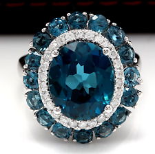 8.45 Carats Natural London Blue Topaz and Diamond 14K White Gold Ring
