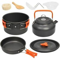 Camping Cookware Kit Aluminum Outdoor Cooking Set Kettle Pan Pot Travel Hiking