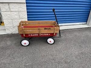 Vintage 1980's Radio Flyer Travler Red Wagon w/ Wood Slat Sides!  USA C Pics