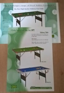 Two DPT Foldaway Snooker / Pool Tables Sales Brochures / Flyers