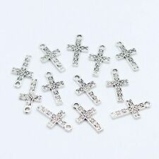 60pcs Tibetan Silver Cross Charms Pendants 9x17mm Jewelry Making