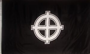 CELTIC CROSS FLAG - BLACK AND WHITE -  3' X 5'  PRINTED POLYESTER