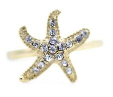 Gold / Silver and clear crystal starfish ring, UK Size Q