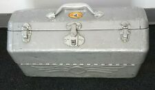 1950s Vintage Simonsen Aluminum Fishing Tackle Box Fish Lures Old Rare Hip Roof