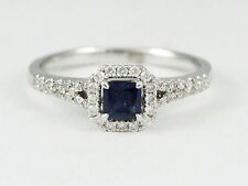 14k White Gold Princess Cut Sapphire and Diamond Ring, 0.68 tdw (new, 2.7g) 1699