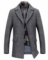 Mens Detachable Scarf Quilted Lapel Tailored Collar Woolen Pea Coat Jacket Gry S