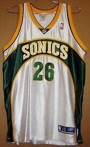 SEATTLE SUPERSONICS #26 SULLIVAN NBA WHITE Reebok Size 48 JERSEY