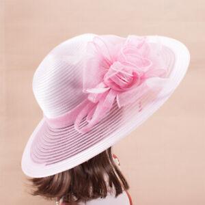 Womens Church Kentucky Derby Carriage Wedding Satin Ribbon Sinamay Hat X769