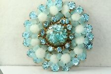 RARE VINTAGE BLUE GLASS MIRIAM HASKELL LARGE PIN BROOCH