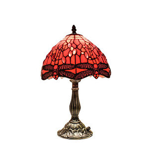 Hand Crafted Antique Style TIFFANY Lamp Stained Glass Table/Desk Dragonfly Shade