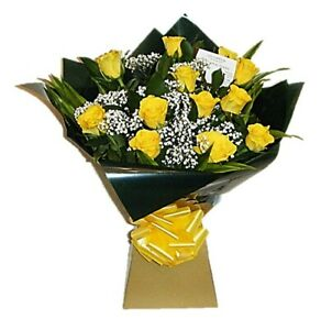 FRESH FLOWERS Delivered UK Yellow Rose Bouquet Free Flower Delivery