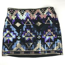 EXPRESS Sequin Aztec Mini Skirt Sz XS Black Blue Purple Pink Tribal NEW NWOT