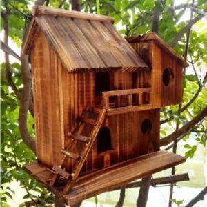 Pet Bird Hamster Ferret Rat Squirrel Wood Hanging Cage Nest House Toys Outdoor